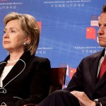 Timothy Geithner (R) and Hillary Clinton - White House Photo